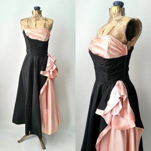 Vintage 1950s black & pink gown by Fred Perlberg